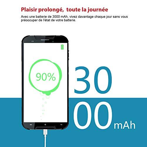 CUBOT Quest Lite Smartphone 4G Android 9.0, Télephone Portable debloqué 5,0 '' incassable 3Go+32Go, Double SIM, NFC, IP68 Imperméable Antichoc, Antipoussière,Noir