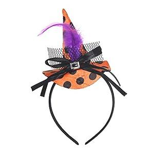 Amosfun Halloween Bruja Sombrero Diadema