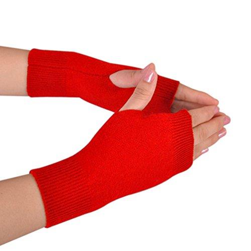 NOVAWO Frauen aus 100% Cashmere Fingerdaumenloch Warm weiche Handschuhe