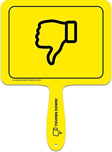 'Daumen runter' - Lustiges gelbes Kunststoffschild mit Griff - GELBE SCHILDER - DAS ORIGINAL