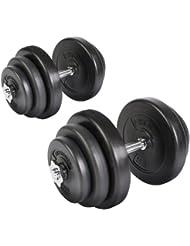 Physionics® Juego de 2 Mancuernas de Fitness de 40 kg (2 x 20 kg