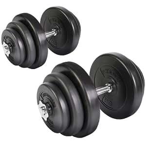 Physionics Set manubri palestra fitness da 2 con set pesi di plastica da 40 kg