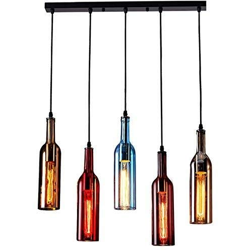 LLF 5-Licht Vintage Industrie farbiges Glas Pendelleuchte, Weinflasche kreative Kronleuchter for Cafe Loft -