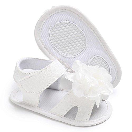 Babyschuhe Longra Kleinkind Mädchen Krippe Schuhe Neugeborenen Blume Soft Sohle Anti-Slip Baby Sneakers Sandalen (0-18Monate) White