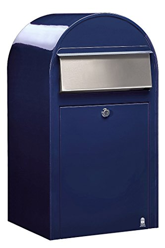 Bobi Grande Briefkasten RAL 5003 blau, Klappe aus Edelstahl Wandbriefkasten