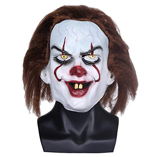 YKQ WS Halloween Clown Latex Horror Maske EIN Haar Weiß Scary Dress Up, Karneval Thema Party Kostüme (Up Horror-thema Dress)
