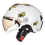 IIRDIAN Kinderhelm Elektro Motorrad halbüberzogener Herren- und Damen-Vier-Jahreszeiten-Helm (Farbe : Weiß, größe : M)