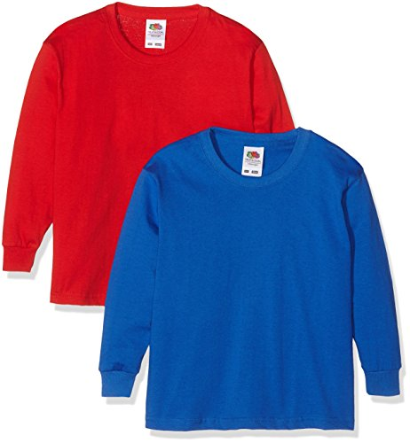 fruit-of-the-loom-0610072-camiseta-de-manga-larga-para-ninos-lot-de-2-color-multicolor-red-royal-blu