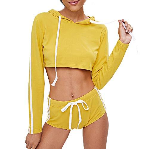 B-commerce Frauen 2 Stücke Sportswear Set - Mädchen Pullover Hoodies Sweatshirt Tops + Kurze Sportbekleidung Hosen Lässige Sets