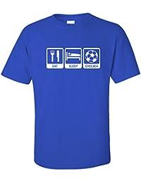 Chelsea Eat Sleep Chelsea Adults T Shirt - Royal Blue