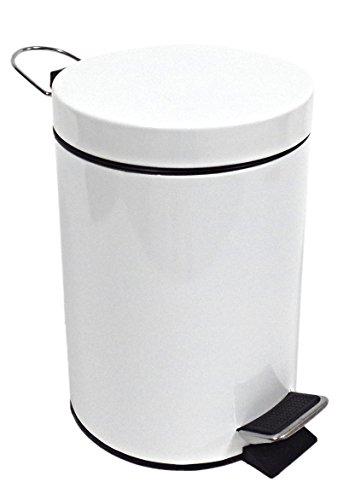 PAMEX Papelera Metalica con Pedal 3L Blanca