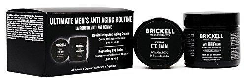 Brickell Men's Ultimate Anti-Aging Routine - Anti-Falten-Nachtcreme für Gesicht und Augen, um Schwellungen, Fältchen, Dunkle Ringe und Tränensäcke zu Reduzieren - Natürlich und Organisch - Dmae Haut Creme
