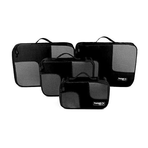 TraLight ® Packing Cubes | Packwürfel | Packtaschen | Kleidertaschen für Koffer, Reisetasche, Handgepäck, Rucksack, Sporttasche | 4 teiliges Set (Schwarz)