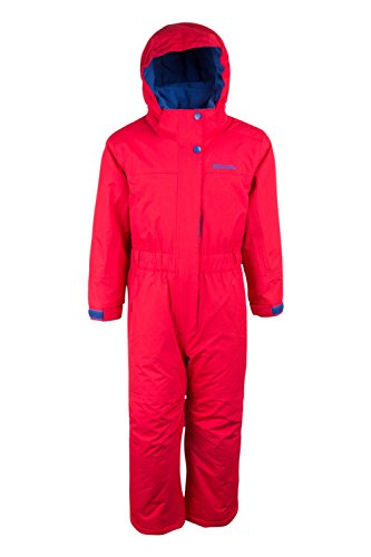 Mountain Warehouse Cloud All In One Schneeanzug für Kinder - Wasserfest, versiegelte Nähte, Winter-Jumpsuit, Skianzug mit Fleecefutter, Mädchen, Jungen Rot 116 (5-6 Jahre)