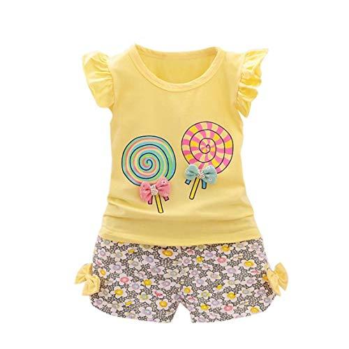 Delicacydex Little Girls Sleeveless Tops Schöne Lollipop Bowknot Shirt + Shorts Sommer Kinder Kleidung Sets Kinder Bequeme Kostüm - Gelb S
