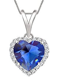 "Silvernshine 7mm Sapphire & Sim Diamond Halo Heart Pendant 18"" Chain In 14K White Gold Fn"