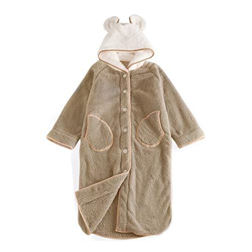 Huifa camicia da notte a singolo strato invernale femminile caldo pigiama dolce camicia da notte lunga da cartone animato a (colore : cachi, dimensioni : m)