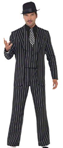 Gefängnis Officer Kostüm - Halloweenia - Herren Karnevalskomplett Kostüm Vintage Gangster Boss , XL, Schwarz