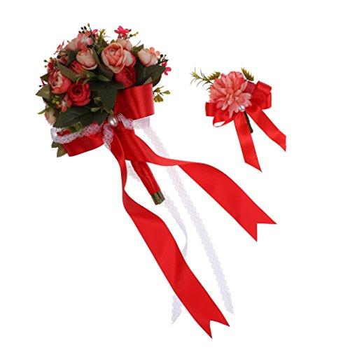 Magideal rosa corsage di polso rustico braccialetto di fiore+ fiori artificiali bouquet con nastro da sposa damigelle decorazione matrimonio - rosso