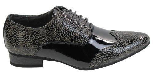Hommes brevet italien brillant serpent de chaussures en cuir à puce lacées brun gris noir Gris