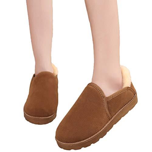 OSYARD Damen Snow Booties Stiefeletten Slip On Pumps Wildleder Bequeme Loafers, Frauen Schnee Stiefel Student Brot Shoes Schuhe Flache Winter Warm Velvet Boots(225/36, Braun) -