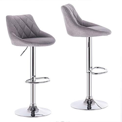 LLIVEKIT Barhocker 2er Set, Höhenverstellbar Tresenhocker Barstühle, gut gepolsterte Sitzfläche aus Leinen, 360° Drehstuhl (Hellgrau)