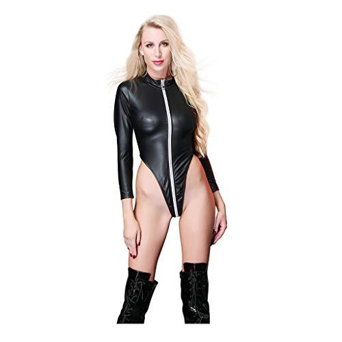 SHINEHUA Reizwäsche Damen sexy Ouvert Body Lack Leder Reizverschluss Bodysuit Leidenschaft Babydoll Underwäsche Frauen Erotische Versuchung Kostüme Wetlook Reizvolle Erotik Dessous M-XXL