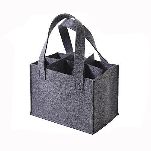 HomeYoo Wein Tasche mit abnehmbaren Teiler, Weinflasche Geschenk Tasche für Reisen Strand Urlaub (6 Flaschen, Hellgrau)