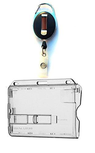 Waizmann.IDeaS® 1x Ausweis-Set Ausweisset Kartenhülle mit 1 transparenten Schieber - Ausweishülle für 1 Karten mit Ausweiszipper - Ausweishalter oval Zipper Ausweisjojo mit GÜRTELCLIP