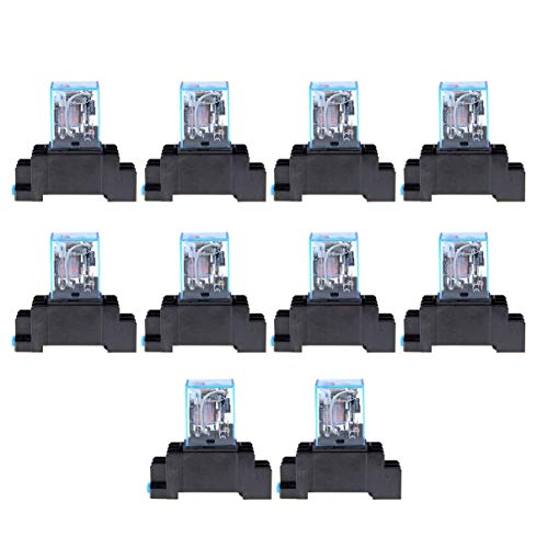 Monllack AC 220 V 10 STÜCKE Spule Leistungsrelais LY2NJ DPDT 8 Pin PTF08A JQX-13F Sockel Basis Elektronische Micro Mini Elektromagnetische Modul Schalter -