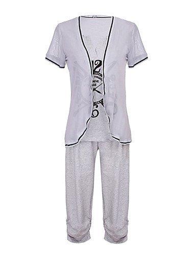 GSP-Costumes ( Coton ) Informel Rond à Manches courtes pour Femme l-gray