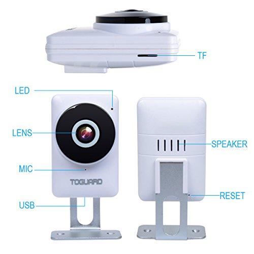 TOGUARD miniature HD IP Camera Wifi Video Surveillance Camera put newborn Monitor using 185 Panorama View Fisheye Lens Night Vision Real time Intercom Motion Detection isolated Monitoring Free 32GB Micro SD Card Dome Cameras