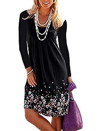 Donna Vestito Stampa Foreale Bohemien Hippie Chic Abito Stile Impero Corto  Moda Vestiti Manica Lunga Ragazza Vintage Swing Abiti Linea ad a Tunica… fa5f2f20bf6c