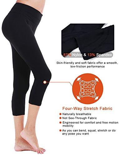 DeepTwist Damen Yogahose Workout Strumpfhose Sports Hosen Fitness Leggings mit Taschen Black(With Pocket)