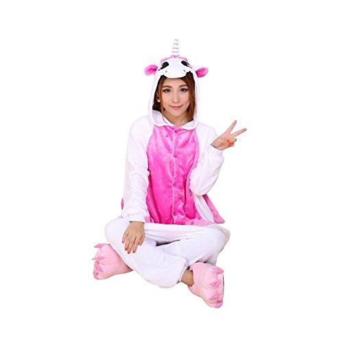 OCHENTA Damen Kostüm Schlafanzug Nachtwäsche Cosplay Tier Pyjama Karneval Halloween mit Kapuze festival Rosa Einhorn M(Körpergröße 156-164cm)