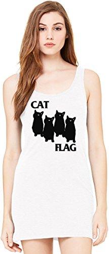 Cat Flag Bella Basic ärmellose Tunika Sleeveless Tunic Tank Dress For Women| 100% Premium Cotton| (Flag Womens Kleid)