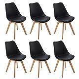 DORAFAIR Lot de 6 chaises de Cuisine en Bois, rétro Tulipe rembourrée Chaise de Salle de Bureau avec Pieds en Bois de Chêne Massif et Assise en PU,Noir