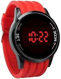 Reloj ♥♥Moda impermeable LED de pantalla táctil fecha silicona reloj negro de la muñeca (rojo)