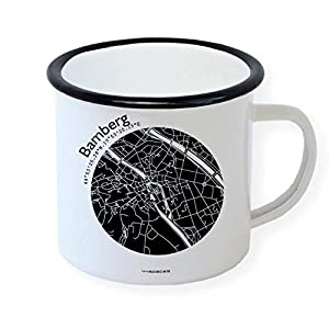 Bamberg Retro Emaille-Becher Design-Tasse, Stadtplan in 5 Farben, Camping Büro Zuhause