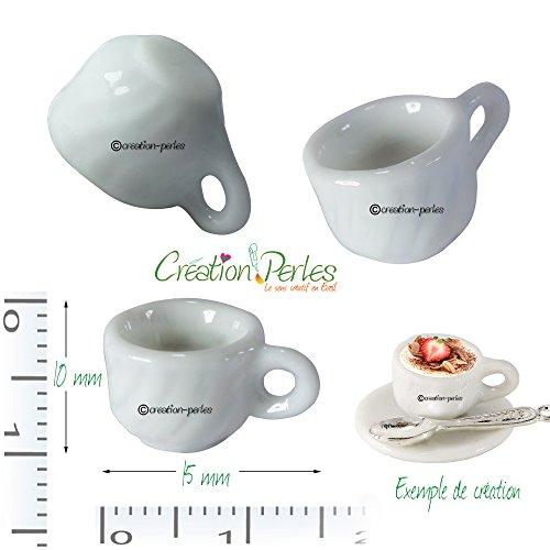 Mini Pc 10 tazze, Fimo piatti in miniatura Création perle gioielli golosi