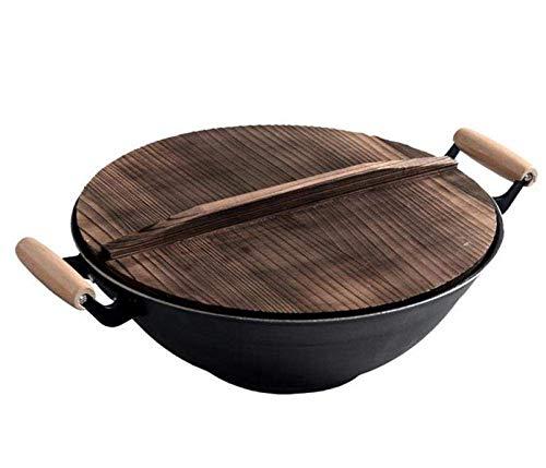 Olla Ollas, sartenes, sartenes, freidoras, wok de hierro fundido con tapa de madera, sartén saludable...