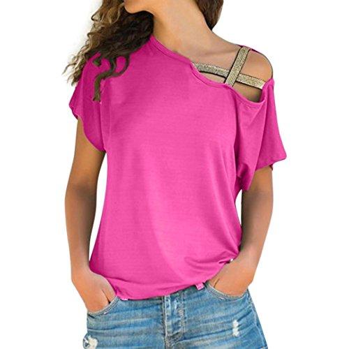 TEBAISE Mid-Season-Mode-Design Frauen-beiläufige Sommerferien-im Freien Tragen Dünne Lose Schulter-T-Shirt Kurzarm-Oberseiten-Bluse(Hot...