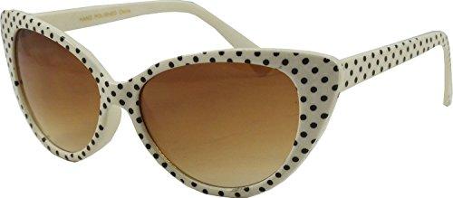 Nerd Sonnenbrille im Stil Retro Vintage Unisex Brille - Boolavard TM (Cat Eye - Weiß Schwarz-Punkt)