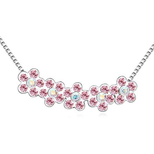Daesar Schmuck Damenkette Vergoldet Blume Halskette Zirkonia Strass Anhänger Halskette für Frauen (Bar 20 Kettensäge)