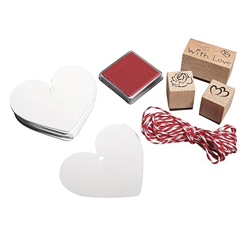 RAYHER HOBBY Rayher 68029000 set timbri €œwith love€ gomma su supporto in legno 3 motivi etichette e spago bicolore per decoro regali fai da te personalizzati decorazioni biglietti d€™auguri