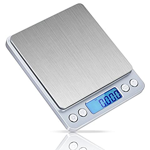 Digital Kitchen Scales IDAODAN 500g / 0.01g Jewellery Weed Pocket Scales with Back-lit LCD Display Silver