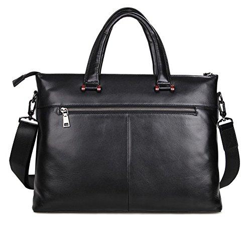 Everdoss Hommes sac à main en cuir véritable sac de messager sac à bandoulière sac de documents sac de business sac d'ordinateur commercial noir