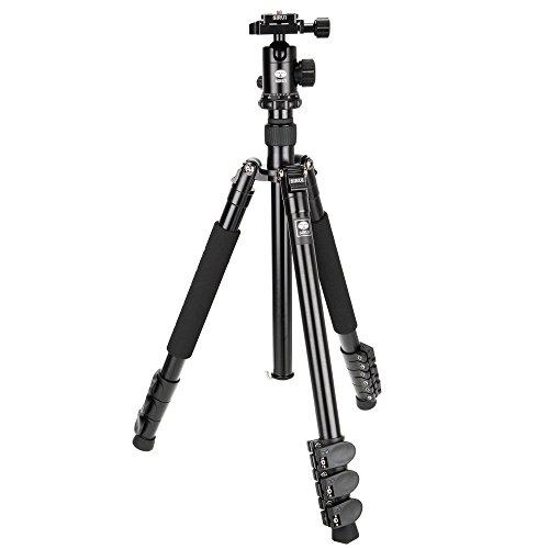 Sirui ET-1004/E-10 Easy Traveler Dreibeinstativ (mit E-10 Kopf, Aluminium, Höhe: 139 cm, Gewicht: 1,3 kg, Belastbarkeit: 8 kg, mit Tasche und Gurt) schwarz