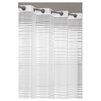RideauDiscount Voilage /à Oeillets 140 x 240 cm /à Rayures Opaques et Transparent Blanc