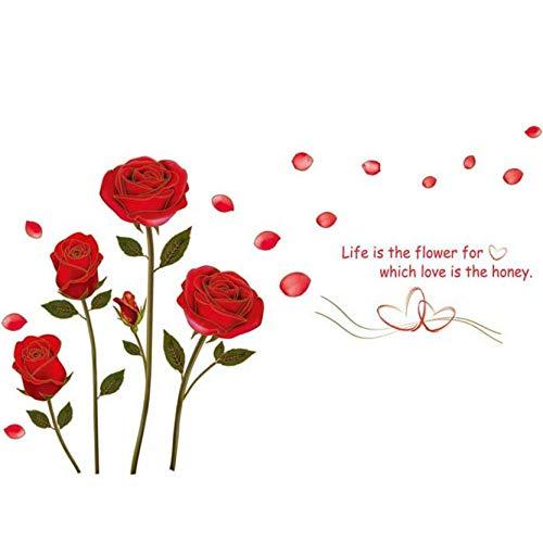 JXNY Decoración hogar Romántico Rosa Roja Flores